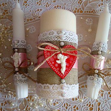 Свадебный салон ручной работы. Ярмарка Мастеров - ручная работа Свадебные свечи в стиле рустик. Handmade.