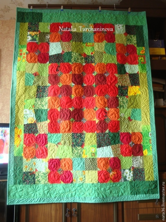 Option # 3 with poppies made to order, Patchwork blanket ` Moorish Lawn ` . Dimensions 132 x 182 Smena - 23500 RUB
