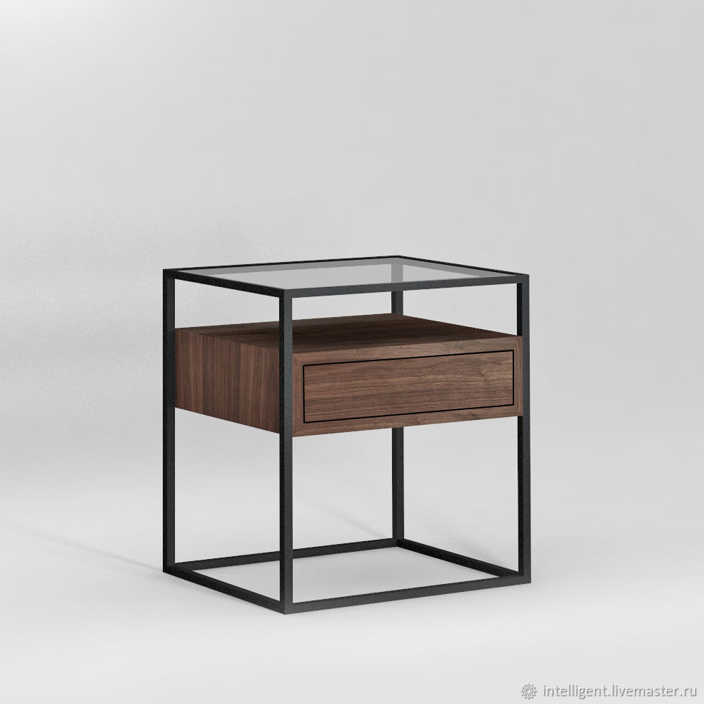 Прикроватная тумба Cubus box black ам. орех, прозрачное стекло, Комоды, Москва,  Фото №1
