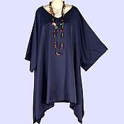 Одежда ручной работы. Ярмарка Мастеров - ручная работа Туника платье бохо блуза свободный размер сатин вискоза синий. Handmade.