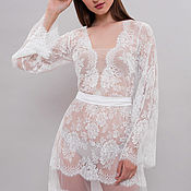 Одежда handmade. Livemaster - original item Long Lace Bridal Nightgown F18, Lace Slip, Bridal Lingerie, Boudoir. Handmade.