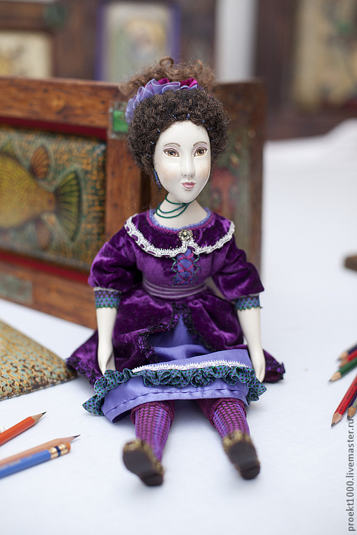 Коллекционные куклы ручной работы. Ярмарка Мастеров - ручная работа. Купить Кончитта. Handmade. Тёмно-фиолетовый, папье-маше, вискоза