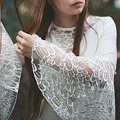 Одежда ручной работы. Ярмарка Мастеров - ручная работа Платье-птица с летящими рукавами из диковинного кружева. Handmade.