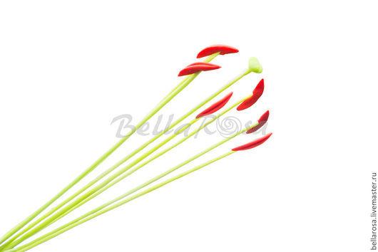 Материалы для флористики ручной работы. Ярмарка Мастеров - ручная работа. Купить Тычинки для лилии красно-оранжевые. Handmade. Полимерная глина