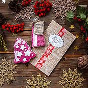 Косметика ручной работы. Ярмарка Мастеров - ручная работа Новогодний набор в крафт-пакете. Мыло елка+жемчуг для ванны. Handmade.