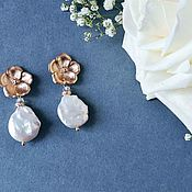 Украшения handmade. Livemaster - original item Earrings with pearls. Earrings with Baroque Pearls Sakura. Handmade.