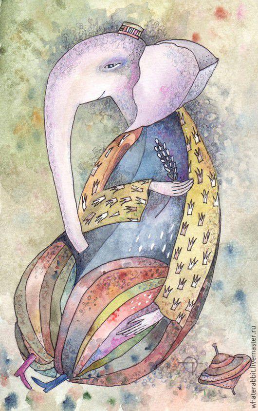 Фантазийные сюжеты ручной работы. Ярмарка Мастеров - ручная работа. Купить Слоник. Handmade. Комбинированный, картины, Картины и панно