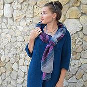 Одежда ручной работы. Ярмарка Мастеров - ручная работа Пальто вязаное демисезонное с шарфом петрольного цвета. Handmade.