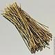 Пины длиной 70 мм с шляпкой гвоздик из сплава железа и покрытием бронза для сборки украшений на вес по 50 грамм - около 170 штук