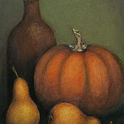 Картины и панно ручной работы. Ярмарка Мастеров - ручная работа Картина Натюрморт с тыквой и грушами. Handmade.