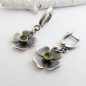 Украшения handmade. Livemaster - original item Earrings in sterling silver with chrysolite Lucky clover (silver, chrysolites). Handmade.