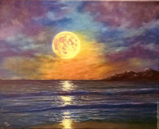 Пейзаж ручной работы. Ярмарка Мастеров - ручная работа. Купить Лунная соната. Handmade. Синий, полнолуние, море, берег, холст
