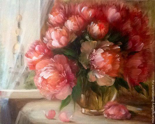 Картины цветов ручной работы. Ярмарка Мастеров - ручная работа. Купить Пионы в моем доме. Handmade. Коралловый, mirartgallery