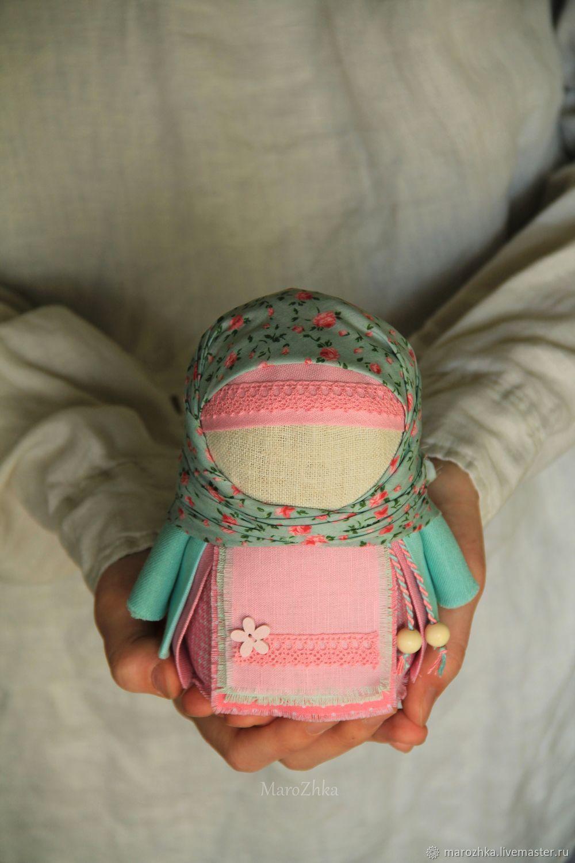 Krupenichka Tenderness of dawn, Russian folk doll, mint pink, Folk Dolls, Kolomna,  Фото №1
