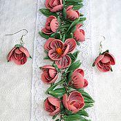 Украшения ручной работы. Ярмарка Мастеров - ручная работа Браслет с цветами из полимерной глины. Handmade.