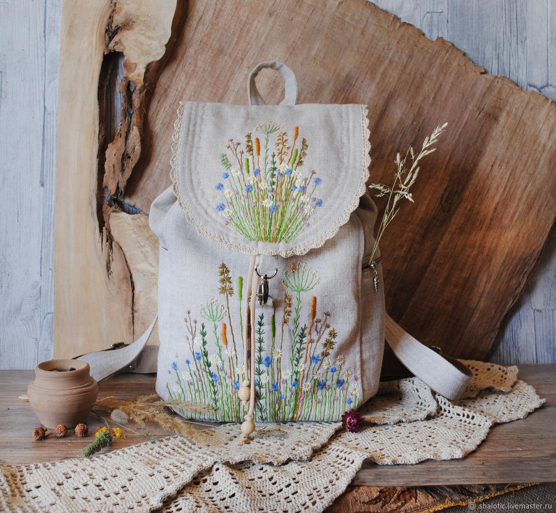 Linen backpack 'Daisies', Backpacks, Rybinsk,  Фото №1