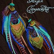 Украшения handmade. Livemaster - original item Colorful long earrings with peacock feather.. Handmade.