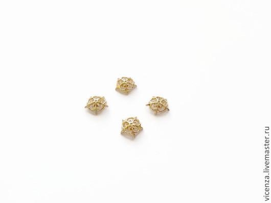 Шапочки для бусин позолота ажурные 10 мм Ю.Корея