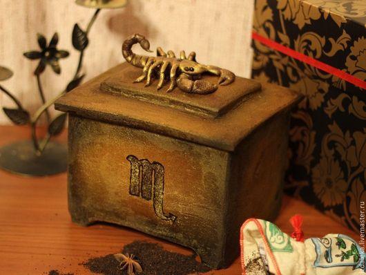 Кулинарные сувениры ручной работы. Ярмарка Мастеров - ручная работа. Купить Скорпион - пряничный сундучок. Handmade. Золотой, пряничная шкатулка
