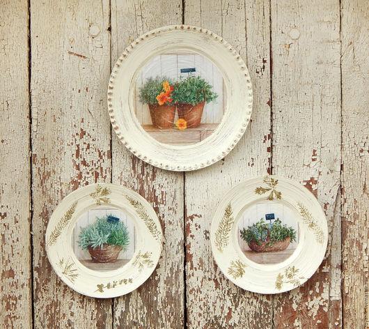 """Тарелки ручной работы. Ярмарка Мастеров - ручная работа. Купить Настенные тарелки """"Ароматные травы"""".. Handmade. Комбинированный, прованский стиль"""