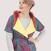 Одежда handmade. Livemaster - original item Vest yellow red insulated with natural fur. Handmade.