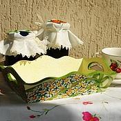 """Для дома и интерьера ручной работы. Ярмарка Мастеров - ручная работа Поднос-сухарница """"Летнее чаепитие"""". Handmade."""