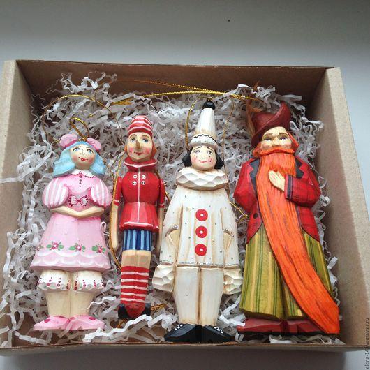 """Новый год 2017 ручной работы. Ярмарка Мастеров - ручная работа. Купить Игрушки на ёлку по сказке """"Буратино"""". Handmade. деревянная игрушка"""
