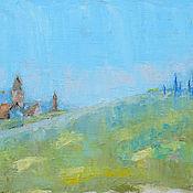 """Картины и панно ручной работы. Ярмарка Мастеров - ручная работа Картина маслом """"Церковь в виноградниках"""". Handmade."""