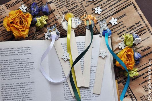Закладки для книг ручной работы. Ярмарка Мастеров - ручная работа. Купить Закладка Котик-игруля. Handmade. Комбинированный, черный
