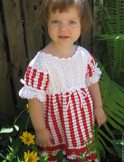 Одежда для девочек, ручной работы. Ярмарка Мастеров - ручная работа. Купить Платье вязаное для девочки крючком нарядное  Аленький цветочек. Handmade.