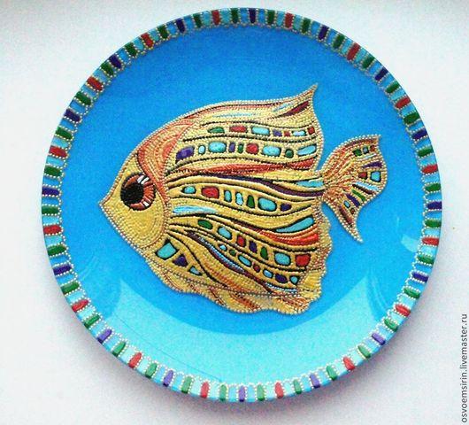 """Декоративная посуда ручной работы. Ярмарка Мастеров - ручная работа. Купить Тарелка """"Рыбка"""". Handmade. Бирюзовый, тарелка сувенирная"""