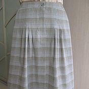 Одежда ручной работы. Ярмарка Мастеров - ручная работа Льняная юбка Полосатая клетка. Handmade.