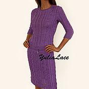 Одежда ручной работы. Ярмарка Мастеров - ручная работа Вязаный костюм фиолетовый. Handmade.