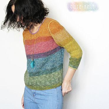 Одежда ручной работы. Ярмарка Мастеров - ручная работа Кофта мохеровая женская Спектр. Handmade.