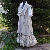 Одежда ручной работы. Ярмарка Мастеров - ручная работа №176.5 Льняной комплект:юбка+сарафан+шарф. Handmade.