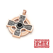 Оберег ручной работы. Ярмарка Мастеров - ручная работа Кельтский крест из серебра с трикветром и агатом. Серобро, золочение. Handmade.