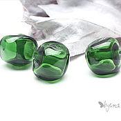 Бусины ручной работы. Ярмарка Мастеров - ручная работа Бусины стеклянные лэмпворк Омут темно зеленые. Handmade.
