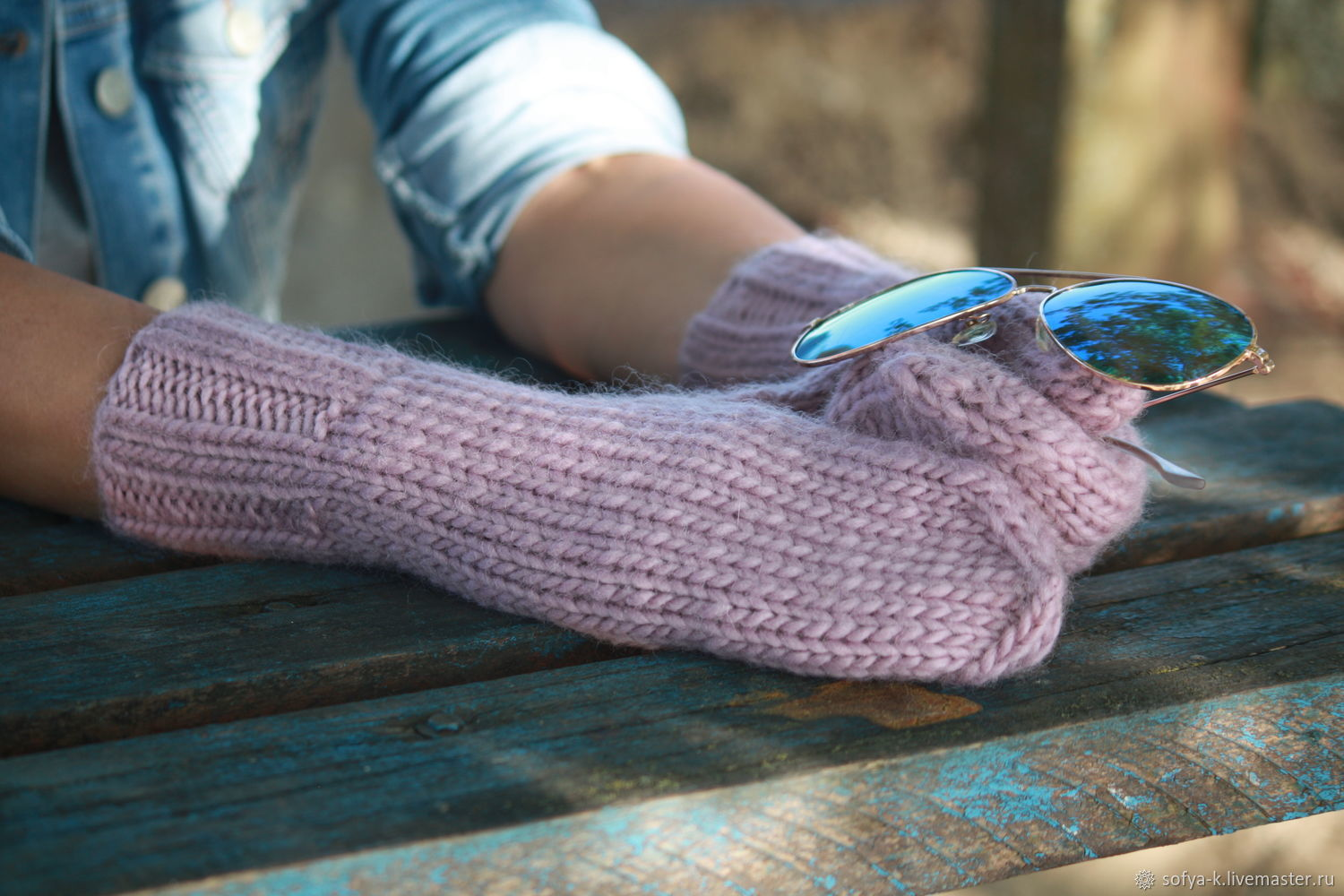 Warm woolen mittens 'lilac', Mittens, Moscow,  Фото №1