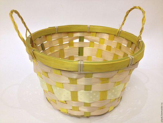 Упаковка ручной работы. Ярмарка Мастеров - ручная работа. Купить Корзинка плетеная 20 см. Handmade. Желтый, форма для кулича