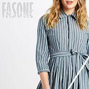 Одежда handmade. Livemaster - original item Cotton striped shirt dress Blue MIDI dress. Handmade.