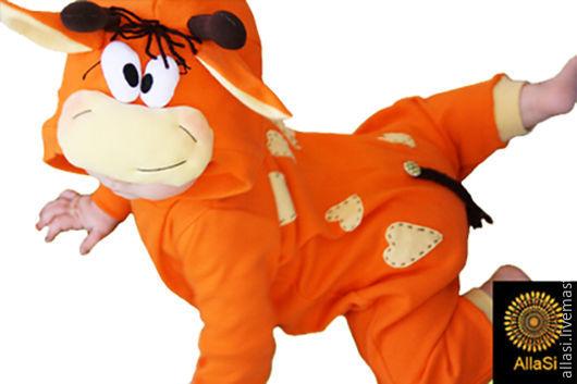 Карнавальные костюмы ручной работы. Ярмарка Мастеров - ручная работа. Купить Костюм Жирафик, карнавальный, хлопковый трикотаж. Handmade. Оранжевый