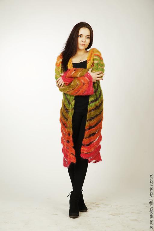 Верхняя одежда ручной работы. Ярмарка Мастеров - ручная работа. Купить Вязаное мохеровое пальто. Handmade. Разноцветный, вязаное пальто