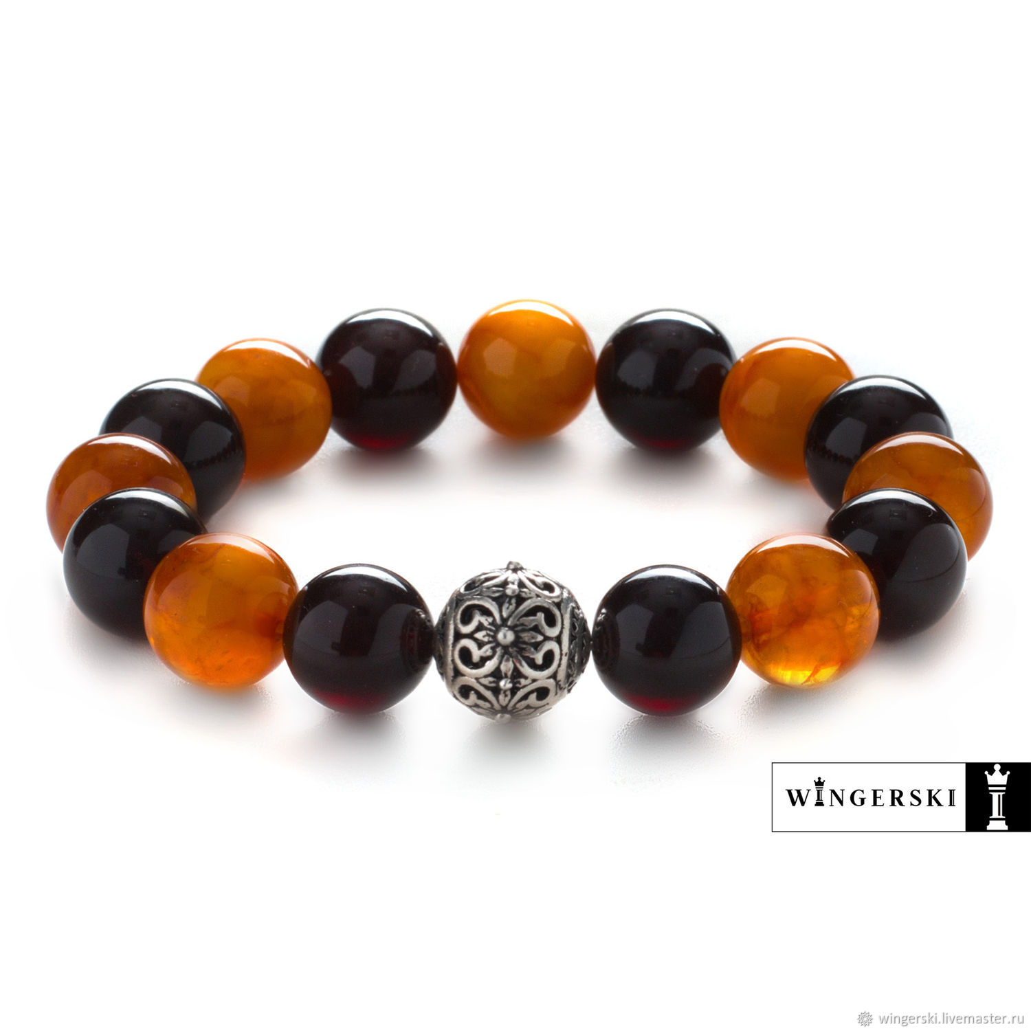 Baltic amber Lotus flower bracelet with silver charm, Bead bracelet, Moscow,  Фото №1