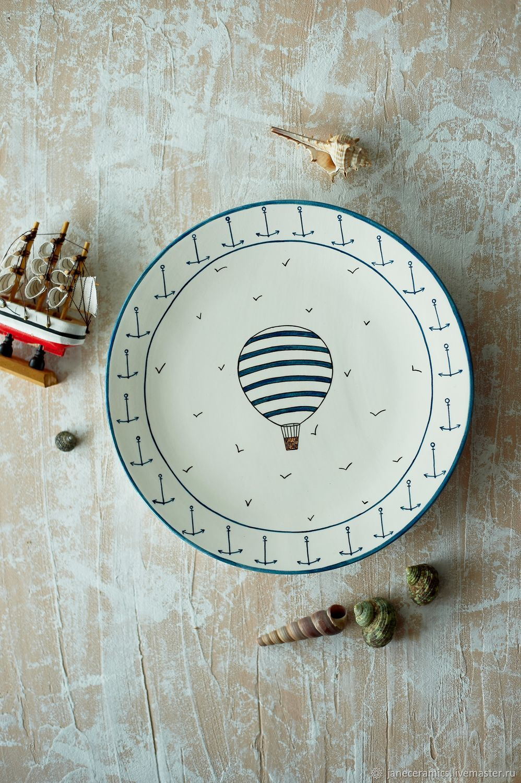 'Sea ' ball. Plate handmade pottery, Plates, Zhukovsky,  Фото №1