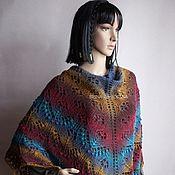 Аксессуары handmade. Livemaster - original item Openwork pure wool shawl (Burgundy-ochre-brown-sea wave). Handmade.
