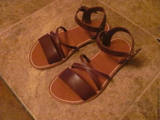 Обувь ручной работы. Ярмарка Мастеров - ручная работа. Купить Греческие сандалии №42. Handmade. Коричневый, ручная работа