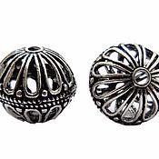 Бусины ручной работы. Ярмарка Мастеров - ручная работа 3 вида Бусина Бали 17,16 и 13  мм латунь, покрытие серебро 925 ( окс). Handmade.