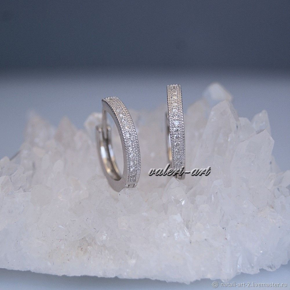 Серьги-кольца серебряные с фианитами – заказать на Ярмарке Мастеров – KYS8KRU | Серьги-кольца, Краснодар