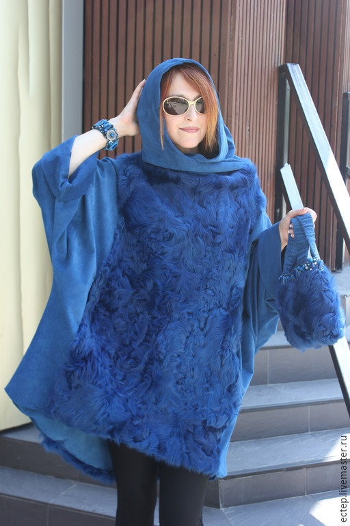 Верхняя одежда ручной работы. Ярмарка Мастеров - ручная работа. Купить Пончо синее. Handmade. Шуба, пончо с мехом, каракуль
