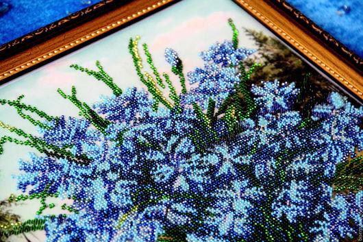 """Картины цветов ручной работы. Ярмарка Мастеров - ручная работа. Купить Картина из бисера """"Васильки"""" 44 х 33 см. Handmade."""
